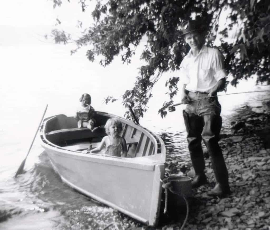 Susan-Linda-and-Stanley-Brown-fishing-Blue-Marsh-Lake-Leesport-PA-1953