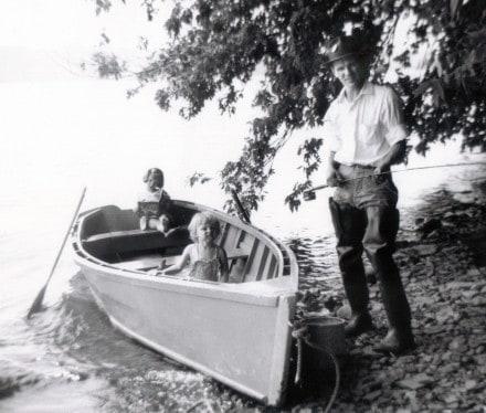 Susan-Linda-and-Stanley-Brown-fishing-Blue-Marsh-Lake-Leesport-PA-1953