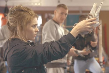 Gemma at the weekly pigeon beauty contest in the boxing gym.